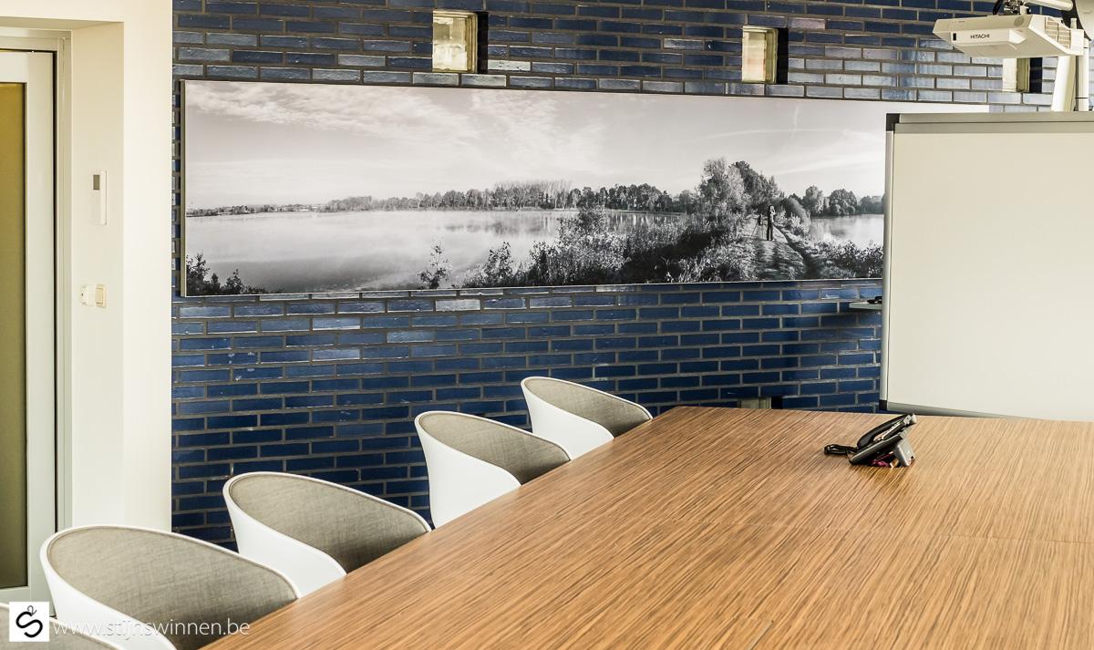 Panorama foto Mechels Broek op groot formaat in vergaderzaal Stad Mechelen